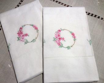 "Vintage 1940s/50s pillowcase set white cotton pink floral spray drawn hem 32.25""x 19.25"" hand embroidery"