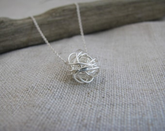 Love Knot Wire Ball Yarn Ball Love Knot Necklace Sterling Silver  SET OF FIVE Necklaces