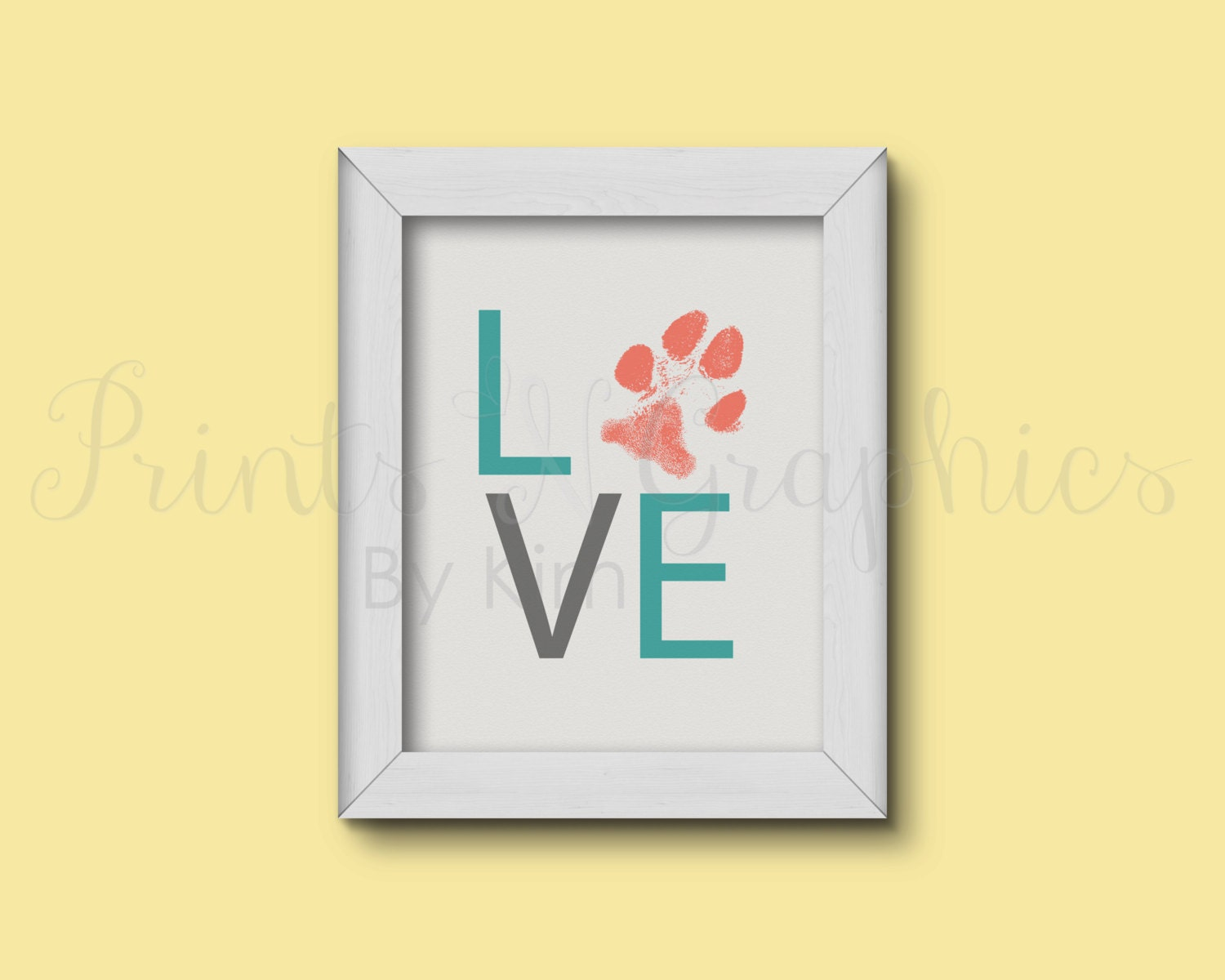 Custom Dog Paw Print Art Dog Lover Art Print Love Wall Art