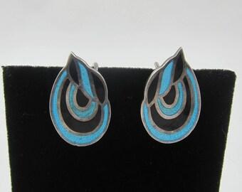 Rare Margot de Taxco Sterling Silver Enamel Screw Back Earrings #5524