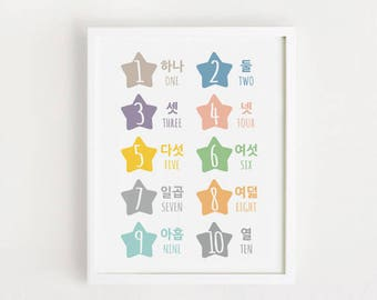 Printable - korean number poster / 1 - 10 Study poster Korea gift wall art INSTANT DOWNLOAD Digital print