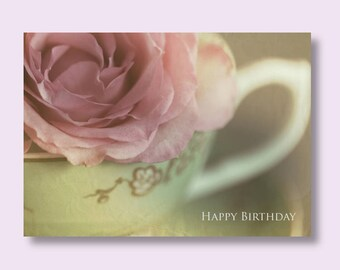 Flower Birthday Photo Card, Pink Rose Greetings Card, Teacup Card, Flower Card, Floral Birthday Card, Pink Birthday Card