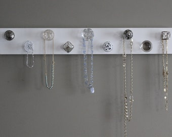 Jewelry organizer, knob necklace holder, jewlery holder, hanging jewlery wall decor, shabby chic, vintage, silver and crystal, organize