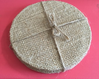 Burlap Coasters - Set of 4