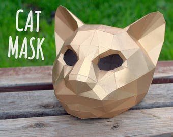 Cat mask (template for print & instruction) / Maine Coon / Kitty / PDF pattern /  Haloween mask / DIY Gift 3D Paper Animal / 3D Origami Cat