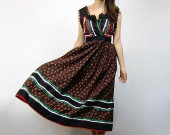 Brown Peasant Dress Vintage 80s Floral Dress Prairie Hippie Sundress - Extra Large to 2XL XL XXL