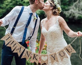 Thank You Burlap Banner, Thank You Banner, Thank You Wedding Photo Prop, B045