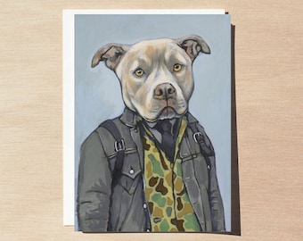 Jake - Greeting Card - Blank Inside - Dogs In Clothes