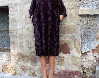 Faux Fur Midi Dress / Maroon dress / Womens Maxi Dress with Pockets / Winter Clothing / Below the Knee Dress / Extravagant Dress for Women