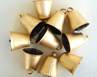 25 Golden Hand Made Cow Camel Goat Sheep Bells for Wind Chimes, Altered Art -with Jute Rope - DIY - MV163