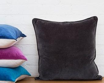 Charcoal Velvet Euro Cushion - Velvet Cushion Cover