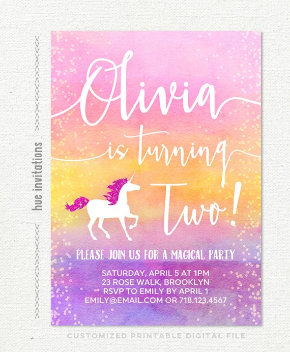 Unicorn 2nd Birthday Invitation Ombre Watercolor Girls Pink
