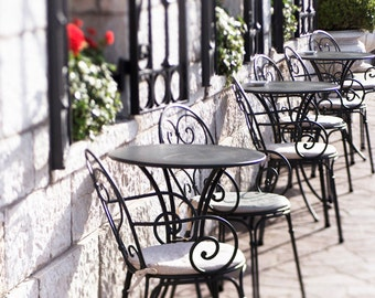 Venice Photography -  Sidewalk Cafe Chairs, Grand Canal, Large Wall Art, Black and White Travel Photography, Home Decor