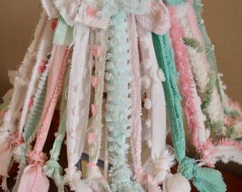 "Lamp Shade - Vintage Chenille - 8"" high, 11"" bottom, pink, green & white chenille"