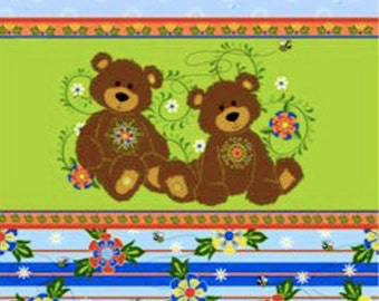 """Nursery Fabric, Cartoon Fabric: Fabri-Quilt Mystic Forest Bear Stripe Blue with bees and floral 100% cotton by the yard 36""""x43"""" (J61)"""