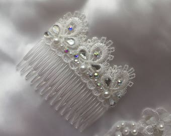 Bridal Hair Accessorie White Lace Hair Comb