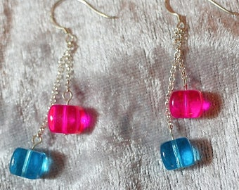 Sterling Silver Hot Pink and Turquoise Cube Drop Earrings