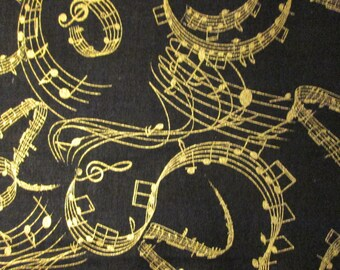 Wavy Gold Music Notes Metallic Cotton Fabric Fat Quarter Or Custom Listing