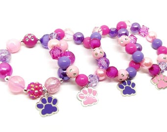 Skye and Everest Paw Patrol bracelets party favors in organza bags with special birthday girl bracelet!