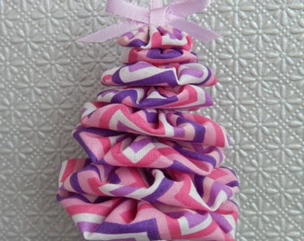 Pink, Purple and White Chevron Yo Yo Ornament