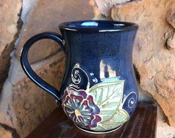 Henna inspired flower mug, Navy Blue mug, Slip Trailed Mug, handmade pottery mug, wheel thrown Mug, coffee, tea cup