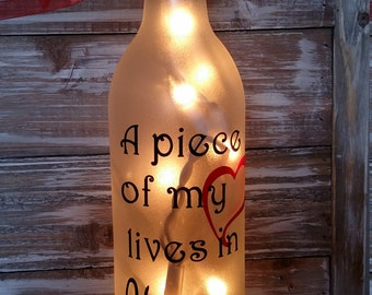 A piece of my heart lives in Heaven/Lighted/Wine Bottle/decor/Gift