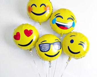 Emoji wink lol hearts sunglasses smiley face poop mylar foil balloons