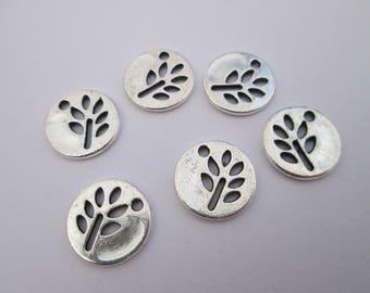 6 breloque arbre médaillon en métal argenté 12 mm