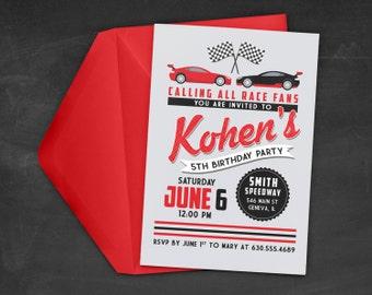 Race Car Birthday Party Invitation - Race Car Invitation - Race Car Theme Party - Cars Birthday Party - Printable