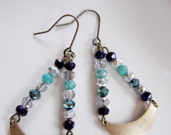 Blue Beaded Crescent Earrings, Bohemian, Brass Earrings, Blue Crystals, Hippie earrings, Tribal, Redpeonycreations