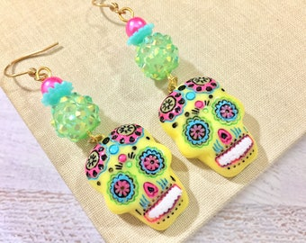 Bright Yellow Day of the Dead Sugar Skull with Painted Face Long Beaded Dangle Halloween Earrings with Surgical Steel Ear Wires