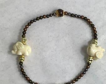 Tigers Eye And Elephant Beaded Stretch Bracelet