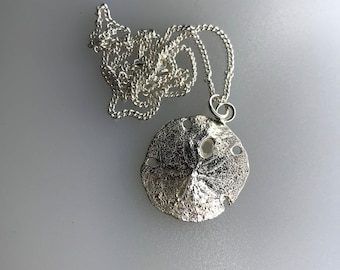 Sand Dollar Pendant, Sterling Silver Sand Cast with a Sterling Silver Curb Chain
