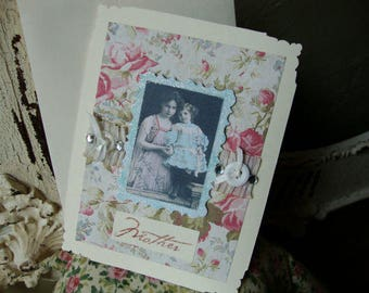 Card for Mom Vintage victorian photo Mothers Day Card victorian ladies photo mother and daughter shabby chic pink floral greeting card