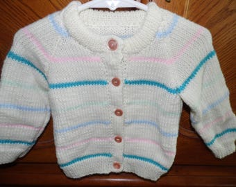 Baby girl size 1 striped cardigan sweater