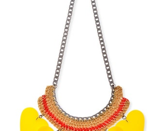 Yellow Hearts bold statement Necklace wareable art crocheted Jewelry