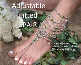 Sale Emerald Pearl Barefoot Sandals foot chain jewelry, Barefoot wedding jewelry Sandals, Custom Fitted and Adjustable Toe ring Sandals, Pai