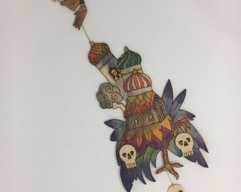 Walking Baba Yaga's House (Large) Wall Hanging