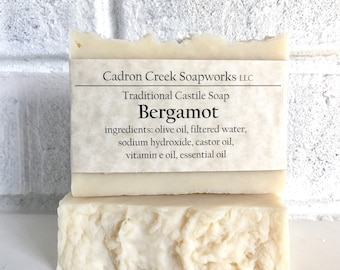 Bergamot Soap All Natural Soap Bar, Traditional Castile, Natural Essential Oil Soap Bar made with Olive Oil