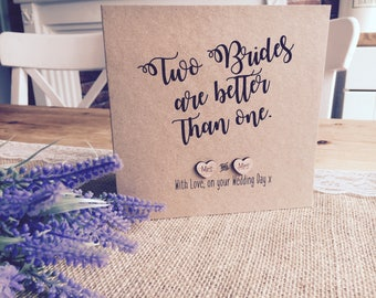 """Rustic Vintage Inspired """"Two Brides are Better than one"""" Same sex marriage Card"""