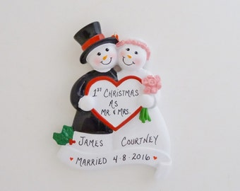 Bride & Groom Personalized  Couple Ornament - 1st Married Christmas Ornament - Personalized Free