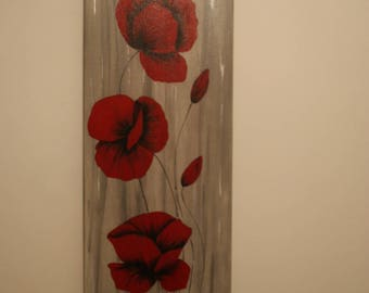 PAINTING acrylic painting background red poppies gray