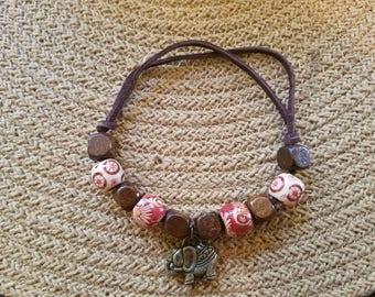 Beaded elephant cord bracelet