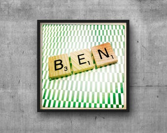 BEN - BENJAMIN - Name Art - Scrabble Tile Name - Art Photo - Photography Art Print - Name Sign