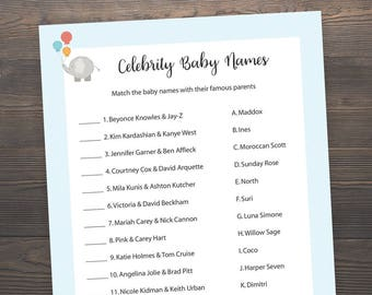 Elephant Baby Shower Games, Celebrity Baby Name Game, Printable Baby Shower, Baby Boy Shower Games, Celebrity Baby Name Match, S004
