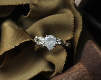 Grey Diamond Engagement Ring, Handmade 18 Karat White Gold Pear Cut Diamond Engagement Ring, Diamond Flower Ring, Leaf Engagement Ring.