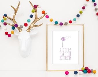 Sister Print | Sister Wall Art | Sister Nursery Decor | Sister Gift | Sister Art | Sister Quote | Dandelion Nursery | Girl Nursery Decor