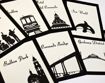 San Diego Table Number Wedding Decor Sign Custom Icons Landmarks Silhouette City California Icons