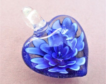 Blue Art Glass Heart Pendant Floral Glass Pendant Blue Two Sided Puffy Heart Pendant Vintage Jewelry Making Supply Art & Craft Supply
