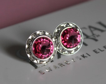 Rose Crystal 13mm Silver Stud Earrings made with Swarovski Crystal Elements